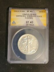 1943-d/d Walking Liberty 50c Wrpm-001 Discovery Piece Error Coin Cleaned Ef-40