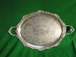Large Tray Silver Plated English Shell Border Engraved Face 1860 Gadroon Style