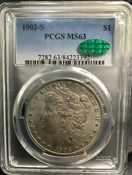 1902 S 1 Morgan Pcgs Ms63 Cac Approved Very Lightly Toned