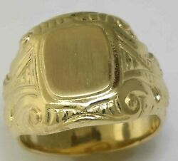 Victorian 14k Yellow Gold Signet Ring Size 8 New Without Tags