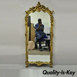 Antique French Rococo Gold Giltwood Italian 65 Tall Console Wall Pier Mirror