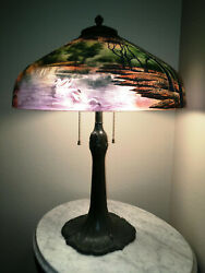 Antique Pittsburgh Reverse - Obverse Painted Lamp - Signed