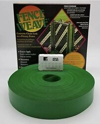 Vintage Green Vinyl Chain Link Fence Weave Privacy Coverage Retro Look 100-ft