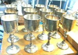 12 Vintage Silver Plated Water Wine Goblets 7 1/4 X 3 With Scroll Design