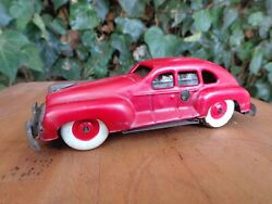 Vintage 1940s Occupied Japan Red Wind-up Tin Car No Key
