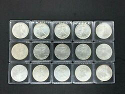 1986-2021 T-1 Complete 36 Coin Us Silver Eagle Set In Capsuls And Box Free Ship