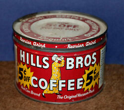 Vintage Hills Brothers One Pound Tin Coffee Can With Matching Metal Slip Lid