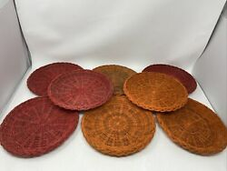 8 Vintage Nevco Wicker Paper Plate Holders Color Rattan Picnic Bbq Camping
