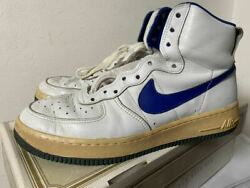 Nike Air Force 1 High Og White X Blue Men's Sneakers Size Us10.5 1982 Vintage