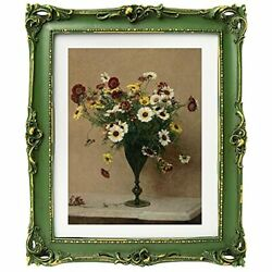 Antique Picture Frames With Embossed Furnishing,vintage Photo 11x14 Moss Green