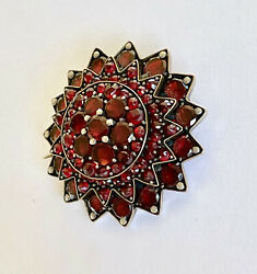 Antique Victorian Bohemian Garnet Gold And Silver Brooch Val 4214