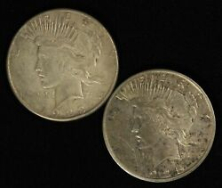 Pair Of 1923-s And 1925-s 1 Peace Silver Dollars - Free Shipping Usa