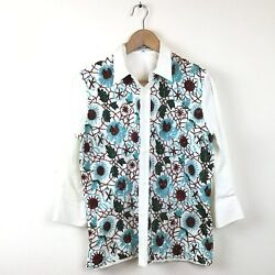 Dolce And Gabbana Top 44 White Beaded Blue Red Button Down Shirt Cotton Women's 2k