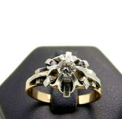 Bague Solitaire Vintage Ans And03950 In Or Massif 18k Diamant Naturel 022 Ct