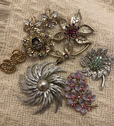 Vintage Signed Sarah Coventry Brooch And Earring Lot