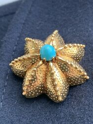 And Co 18k Gold Turquoise Starfish Seastar Pin Brooch 16.9 Grams