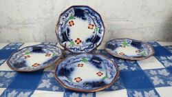4 Antique Gaudy Welsh Blue Flow Pearl White Copper Lusterware Plates Ironstone