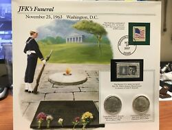 Rare Jfkand039s Funeral Memoriam Car With Two 1964 Jfk Silver Half Dollar And Stamp Set
