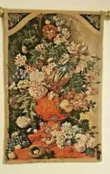 Vintage Floral Vase Art Wall Hanging Tapestry Made in Italy. 25quot;x39quot;