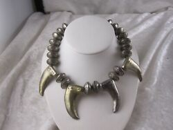 Native American Antique Sterling Silver Buffalo Nickel Beaded Necklace