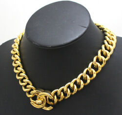 Vintage Turn Lock Chain Necklace Gold 95a 54323 Free Shipping From Japan
