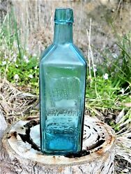 Antique Bottle New York Hop Bitters Company Rare Teal Blue Old Bottle 1870and039s