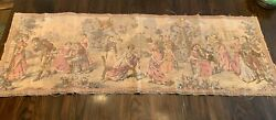 Antique tapestry French courting scenes early 1800s Napoleon Josephine 18quot;x 53quot;