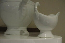 Antique French White Ironstone Figural Design Sauceboat Porcelain Directoire
