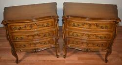 1930s French Provincial Fruitwood Pair Of Commode / Nightstands / Bedside Tables