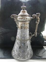 Decanter Silver Plated Crystal , Victorian 1870 Beautifully Crafted, Unmarked