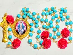 Vatican Style Blue Turquoise Bead Pink Rose Mary Cameo Benedict Rosary