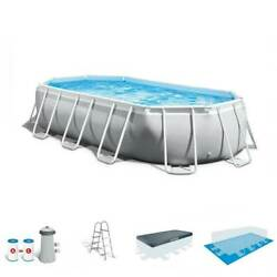 Intex 16.5ft X 9ft 48in Prism Frame Oval Above Ground Swimming Pool Pump Set