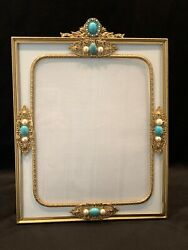 Antique 1920and039s Jeweled Picture Frame With Stunning Faux Turquoise And Pearls