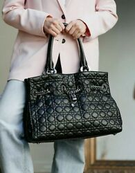 Authentic Large Christian Dior Cannage Quilted Leather Chains And Lock Tote