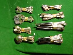 Silver Plated Flatware Antique English Feather Edge Pat Full Service For 12 1880