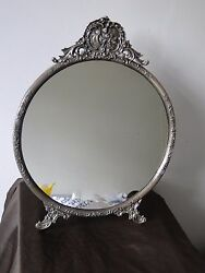 Antique Mirror Sterling Silver 800 German Circa 1880 Fancy Chasing Marked