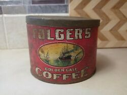 Vintage Folgers Coffee Can Tin Copyright 1931 Golden Gate One Pound