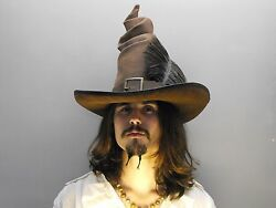 Witch Brown Leather Hat Pirate Feather Costume Cosplay Reenactment Wicca
