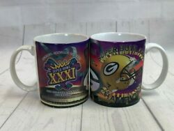 Green Bay Packers Super Bowl Xxxi Champions 1997 New Orleans Mugs Lot Of 2