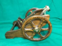 Vintage Couvoisier Cognac Brandy Of Napoleon Wood And Brass Cannon Bottle Display
