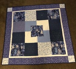 Hand Made Quilted Table Topper Wall Hanging Quilt 44quot;x44quot; Winter Snowflakes