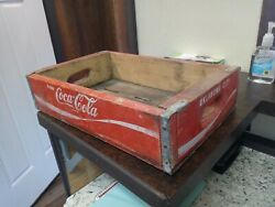 Vintage Coca-cola Wooden Coke Soda Crate Carrier Box Case Wood Red Oklahoma City