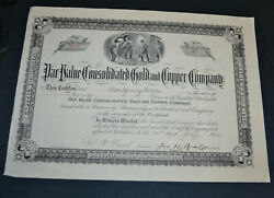 Par Value Consolidated Gold And Copper Company 1906 Antique Stock Certificate