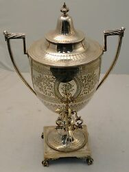 Silver Plated Tea Kettle England 1870 Chased And Engraved Base/ Body With Lamp