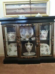 Queen Victoria Herend Hungary Hand Painted 22 Items Incl. Cabinet
