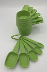 Tupperware Vintage Apple / Lime Green Measuring Cups Full Set And Spoons Partial