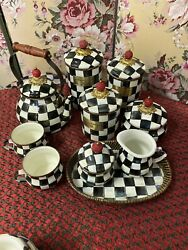 Mackenzie-childs Courtly Check Lot 3 Canisters Teapot Sugar Creamer Tray Squash