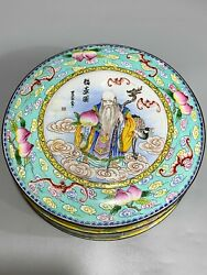 6'' Chinese Cloisonne Copper Jewelry Box God Of Longevity Brass Rouge Box