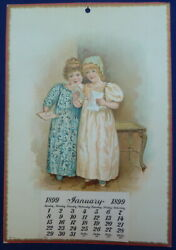 Antique 1899 Salesman Sample Calendar 2 Young Victorian Girls In Party Dresses