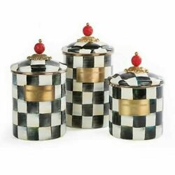 Mackenzie-childs Courtly Check Lot 3 Canisters Enamelware New Free Shipping